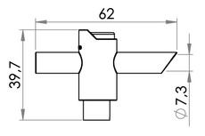 Small technical drawing of 09-828 PVC/PE T-Tap Cross Valve