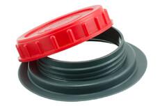 PVC/PE skruelåg med svejseflange, 98mm