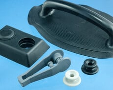 HF-weldable plastic clips, anchor-points, handles and hooks