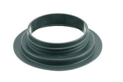PVC Schraubflansch, 98 mm. 98 mm PVC Schraubflanschen mit eingebauter, weicher Bohrung. HF/Ultraschall-schweißbar. Für große und kleine Container für Flüssigkeiten und Pulver/Granulat.