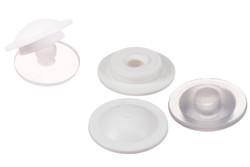 PVC Druckknopf, Oberteil (leichte Schließkraft). Plastik Druckknopf (Oberteil) mit leichter Schließkraft. Kann ohne Werkzeug geöffnet und wiederverwendet werden.