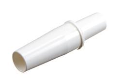 """Kunststoff schlauchverbinder / Stufenverbinder, groß. Für Eingangsschläuche von etwa Ø6,3 mm (1/4"""") ID, mit Aussparung für das Schlauchende. Ausgangsschlauch etwa Ø9,5 - Ø11 mm ID."""