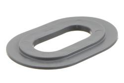 Ovale PVC öse, 20/40 mm. Ovale PVC Öse mit eckigen Flanken, für HF/RF-Schweißung an Banner, Planen, Gebäudeverkleidungen etc. 20 x 40 mm Loch.
