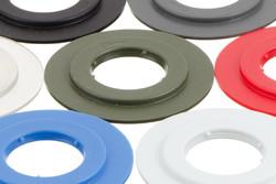 Kunststoff Rundöse, schwer 19/43 mm. 19/43 strapazierfähige Kunststoff Rundöse mit eckigen Flanken. Für Hoch Frequenz (HF) schweißen und Verwendung in automatischen Maschinen optimiert.