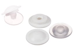 PVC Snapfastener, female (low closing strength). Plastic Snapfastener (female part) with low closing strength.