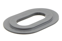 Oval plastic eyelet,20/40 mm. Oval PVC eyelet with square shoulders for HF/RF welding to banners, tarpaulins, building wraps etc. 20 x 40 mm hole.  Specially developed for both plastic and metal TIR turnbuckles.
