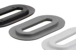 Oval plastic Eyelet, Oval, 13/51 mm. Oval PVC eyelet with square shoulders for HF/RF welding to banners, tarpaulins, building wraps etc. 13 x 51 mm hole. Forms a lock with plastic cleat 05-646