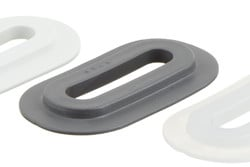 PVC Eyelet Oval, 9/42 mm. Oval PVC eyelet with square shoulders for HF/RF welding to banners, tarpaulins, building wraps etc. 9 x 42 mm hole. Forms a lock with plastic cleat 05-446