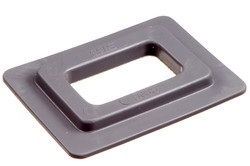 Square plastic Eyelet, 24/43 mm. Square PVC/PUR eyelet with square shoulders and 24 x 43 mm square hole. Typically used for hole reinforcements in banners, tarpaulins, building wraps etc.