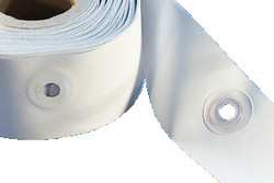Weldable PVC Eyelet Border, 85mm x 50m roll. Eyelet border with pre-welded PVC eyelets - Simply align, overlap edges and weld or simply sew up! White PVC with natural colour eyelets