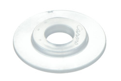 Heavy duty pvc eyelet, 7/25 mm. 7/25 mm heavy duty plastic eyelet with square shoulders. Optimised for HF welding. Typically used for hole reinforcements in banners, tarpaulins, building wraps etc.
