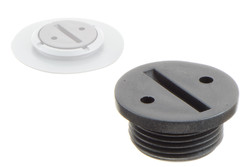 Coin Groove Cap for weldable flange 03-601. Threaded plug with coin groove. For threaded plastic flange