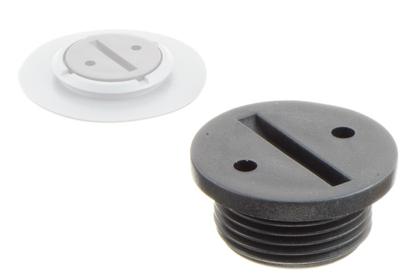 Coin groove cap for weldable flange g quot thread